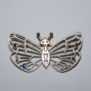 Beautiful vintage white and gold butterfly brooch
